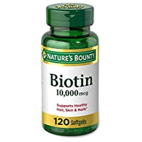 Nature's Bounty Biotin Supplement, Supports Healthy Hair, Skin, and Nails, 10,000 Mcg, 120 Rapid Release Softgels