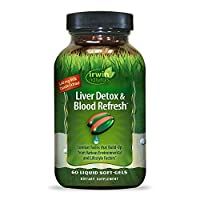Irwin Naturals Liver Detox & Blood Refresh Powerful Herbal Whole-Body Cleanse & Detox with 540mg Milk Thistle, Dandelion, Echinacea, Turmeric & More - Antioxidant Support - 60 Liquid Softgels