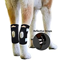 NeoAlly Extra Large Dog Hock Brace Canine Rear Leg Ankle Support with Safety Reflective Straps for Hind Leg Wounds Heal and Injuries and Sprains from Arthritis Extra Large (Pair)