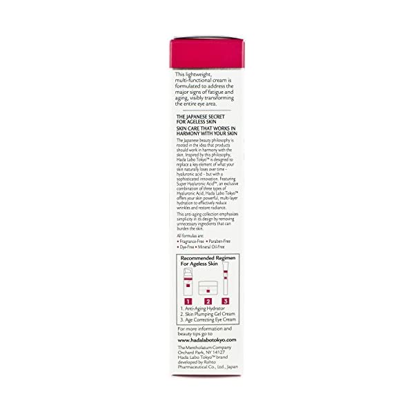 Hada Labo Tokyo Age Correcting Eye Cream 0.5 Fluid Ounce  - with Super Hyaluronic Acid Caffeine Collagen and Light Diffusing Pigments - lightweight non-greasy fragrance free (packaging may vary)