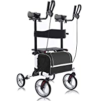 """BEYOUR WALKER Upright Walker, Stand Up Rollator Walker Tall Rolling Mobility Walking Aid with 10"""" Front Wheels, Seat and Armrest for Seniors and Adults, White (2020-Update)"""