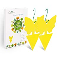 Garsum Yellow Sticky Fruit Fly Traps Gnat Trap for Indoor/Outdoor Houseplant Sticky Bug Insect Catcher Glue Trappers (48 pcs)
