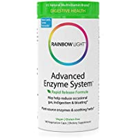 Rainbow Light - Advanced Enzyme System - Plant-Sourced Whole Food Enzyme Supplement, Supports Nutrient Absorption and Digestive Health; Vegan and GF- 180 Caps (Packaging May Vay)