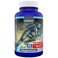High Absorption Magnesium for Leg Cramps and Sore Muscles, Restless Leg Syndrome Relief (RLS), Muscle Relaxer with Vitamin B6, D and E, 380mg Magnesium Oxide Monohydrate, 60 Servings