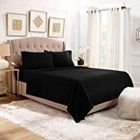 """Empyrean Bedding 14"""" - 16"""" Deep Pocket Fitted Sheet 4 Piece Set - Hotel Luxury Soft Double Brushed Microfiber Top Sheet - Wrinkle Free Fitted Bed Sheet, Flat Sheet and 2 Pillow Cases - King, Black"""