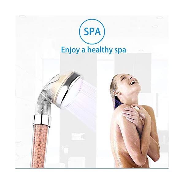 PRUGNA LED Shower Head with Hose and Wall Arm Mount Color Changes Cyclically High-Pressure Ionic Filter Handheld Shower for Repair Dry Skin and Hair Loss