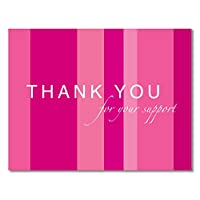 20 Breast Cancer Support, Pink Ribbon Thank You Cards - for Breast Cancer Awareness, Charity Events, Runs, Walks - Hot Pink - Jenna by Two Poodle Press