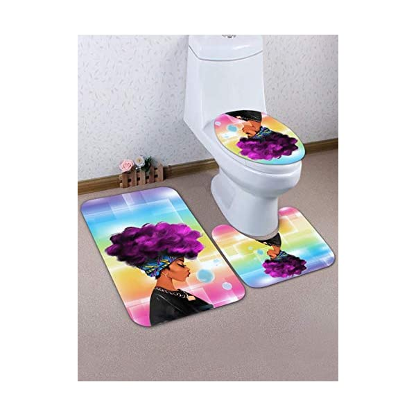 EVERMARKET Soft Comfort Flannel Bathroom Mats,Anti-Skid Absorbent Toilet Seat Cover Bath Mat Lid Cover,3pcs//Set Rugs-African American Lovers Couple