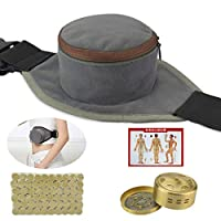 Smokeless Moxa Purifier with Copper Tank,60Pcs Moxa Stick, Adjustable Velcro Pocket, 艾灸 Moxibution Treatment for Arthritis Pain Relive, Neck Knee Joint Pain Relieve, Health Maintenance Theropy (1)