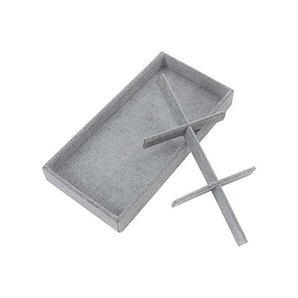 Drawer Insert Felt Earring Box Velvet Ring Holder Stackable Accessories Storage 4 Pieces Gray Cufflink Case 13.8 W x 9.5 D Bracelet /& Necklace Display Houseables Jewelry Tray Organizer