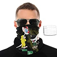 LisaCrocker Neck Gaiter Balaclava Scarf Pinky and The Brain Thin Bandanas for Cycling with 2 Filter
