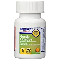 Equate Gentle Laxative Bisacodyl Delayed Release Tablets, 5 Milligrams, 100 Count
