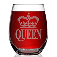 Shop4Ever Crown Queen Laser Engraved Stemless Wine Glass
