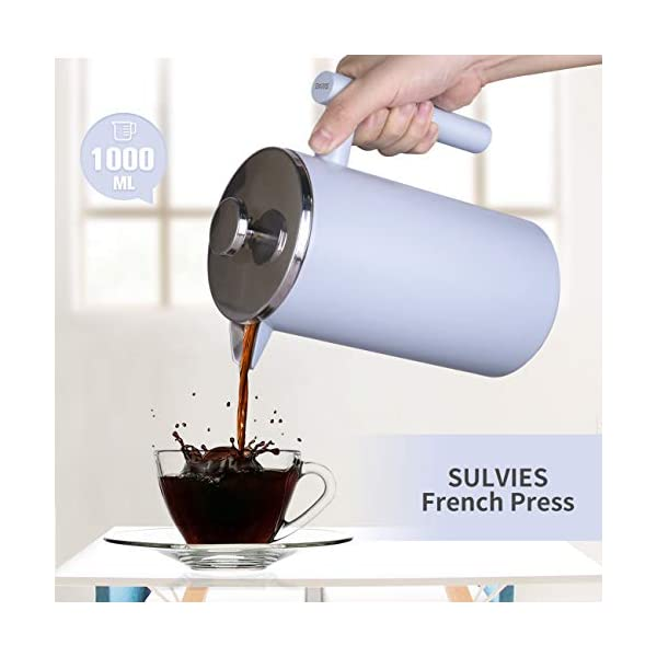 Champagne Gold 34 oz// 1000 ml SULIVES Large Stainless Steel French Press Coffee Maker Double Wall Vacuum Insulated Stainless Steel Body