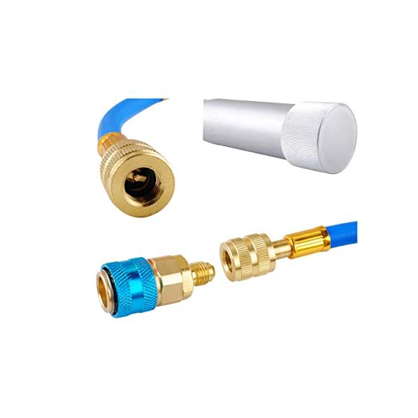 Podoy AC A//C Oil and Dye Injector Refrigerant Tools with R-134a Snap Quick Coupler and Connector Hose /& 2 OZ Hand Turn Screw /& 1//4 SAE Scale