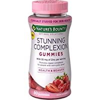Nature's Bounty Optimal Solutions Stunning Complexion Skin Care Supplement Gummies with Zinc, 60 Count, Mixed Berry