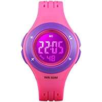 Kids Digital Watch, Boys Sports Waterproof Led Watches with Alarm Wrist Watches for Boy Girls Children Rose Purple