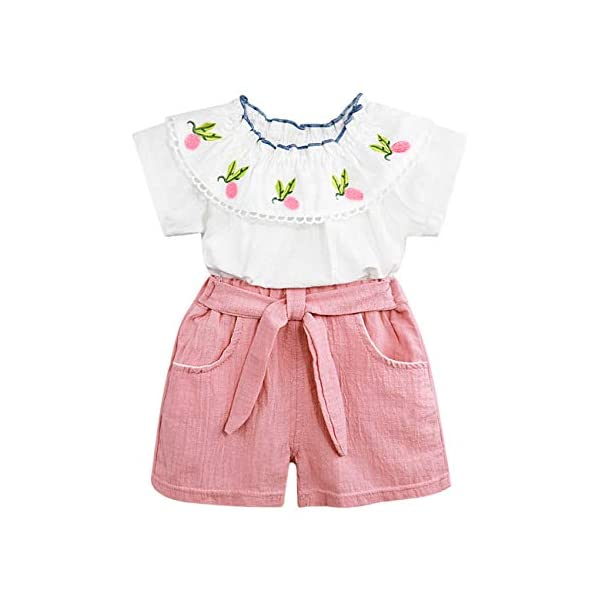 YOUNGER TREE 2Pcs Toddler Girls Clothes Outfit Plaid Ruffle Shirts Top+Denim Shorts Pants Set
