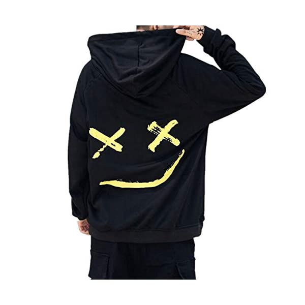 Clearance On Sale Litetao Men Pullover Hoodie Sweater Smile BE Happy Print Patchwork Hip Hop Christmas Costume XL, Blue