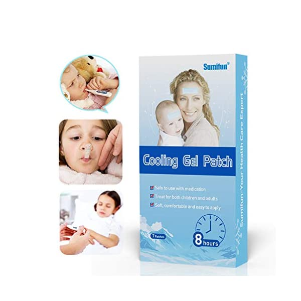 Kimnny Cooling Gel Patches, 7 Pieces/Box Baby Kids Physical Fever Down Cooling Gel Sheet Patches Antipyretic Headache Relieve Pain Pad Medical Grade Hydrogel