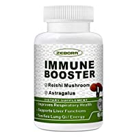 Reishi Mushrooms Immune Support - Astragalus Respiratory Health Booster, Liver Functions Tonifies Lung Qi/Energy, Vegan, Organic, Gluten Free, 60 Tablets