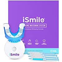 iSmile Teeth Whitening Kit - LED Light, 35% Carbamide Peroxide, (3) 3ml Gel Syringes, (1) Remineralization Gel, and Tray.