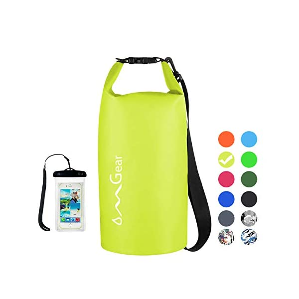 Camping and Hiking with Waterproof Phone Case 2L//5L//10L//20L Roll Top Lightweight Floating Dry Sack for Kayaking Fishing Boating Unigear Dry Bag