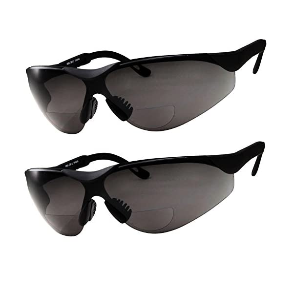 Fully Adjustable Arms Diopter//+1.00 2 Pairs Bifocal Safety Sunglasses Black Lens with Reading Corner