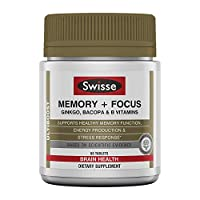 Swisse Ultiboost Memory + Focus Supplement | Ginkgo Biloba, Bacopa & B Vitamins to Support Brain Health, Mental Alertness, Concentration and Focus | 60 Tablets