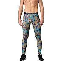 1Bests Mens Sports Running Camo Compression Pants Gym Workout Quick Dry Breathable Tights Leggings