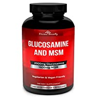 Glucosamine Sulfate Supplement (2000mg per Serving) with MSM - 240 Small Vegetarian Capsules - No Shellfish, GMO's or Harmful Additives
