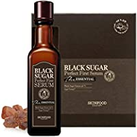 SKIN FOOD Black Sugar Perfect First Serum The Essential 4.06 oz (120ml) with 60 Sheets of Cotton Pads - Containing Fermented Black Sugar for Smooth & Pure Skin, First Step Skin Care Toner Serum