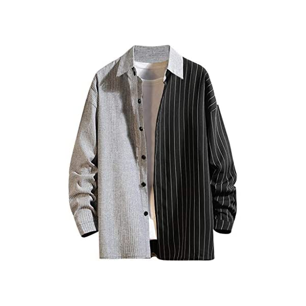iLOOSKR Spring Fashion Mens Double Color Matching Striped Printed Long-Sleeve Casual Top Blouse Shirt