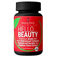 Non - GMO Hair Skin and Nails Vitamins - Hair Growth Products, Skin Vitamins & Nails Vitamins - Biotin Supplement, Keratin and Collagen Pills for Women - Super Vitamin B Complex - Ladybug Potions
