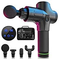 Massage Gun, 20 Speeds Adjustable Professional Handheld Deep Tissue Percussion Muscle Massager Quiet, 4 Heads Cordless Electric Massage Device for Pain Relief & Sports Relaxation