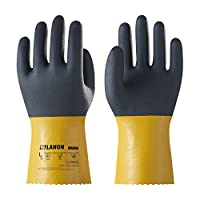 LANON U100 Reusable PVC Work Gloves, Oil Resistant Heavy Duty Industrial Gloves, Chemical Resistant, Non-slip, Extra Large, CE Certified, CAT III