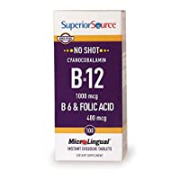 Superior Source No Shot Vitamin B12 Cyanocobalamin (1000 mcg), B6, Folic Acid, Quick Dissolve Sublingual Tablets, 100 Ct, Increase Energy, Healthy Heart, Boost Metabolism, Stress Support, Non-GMO