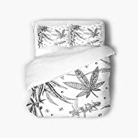 Qewhyn 3pc Duvet Cover Leaves Hemp Marijuana Black White Plant Cannabis Leaf Weed Queen 100% Brushed Microfiber Bedding Quilt Soft Breathable Belt Zipper Closure Corner Tie
