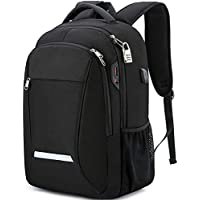 XQXA Travel Backpack for Men&Women,Water Resisitant Tech Campus School Backpack Anti-Theft Black Backpack for 17 Inch Laptop
