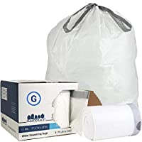 Plasticplace Custom Fit Trash Bags │ Simplehuman Code G Compatible (200Count) │ White Drawstring Garbage Liners 8 Gallon/ 30 Liter │ 17.5