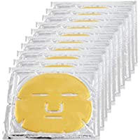 EZGO 10 Pieces 24K Gold Bio-Collagen Renewal Facial Mask, Collagen & Elastin Beauty Mask For Anti-Aging, Tighten Skin & Revitalize Skin (Gold)