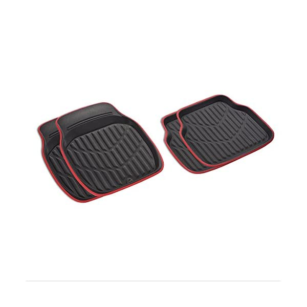 Black with Red, Medium Size CAR PASS Universal Fit PVC Leather Car Floor Mats Anti-Slip for Suvs,Vans,Trucks,Pack of 4