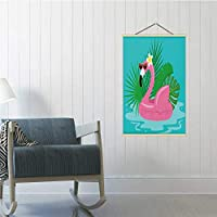 Hitecera Summertime Pool Beach Holidays Background with Swimming Flamingo Float Sunglasses and Tropical Leaves Illustration Australia,Poster Frame Flamingo Poster 24x47in(WxH)