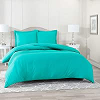 Nestl Bedding Duvet Cover 2 Piece Set – Ultra Soft Double Brushed Microfiber Hotel Collection – Comforter Cover with Button Closure and 1 Pillow Sham, Teal - Twin (Single) 68