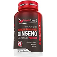 Korean Red Panax Ginseng Capsules 1500 mg Supplement -120 Vegan Pills High Ginsenosides Powder Extract to Boost Energy, Endurance, Mood, Performance & Sexual Health Pills for Men and Women