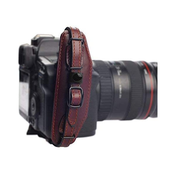 Quick Release Plate for SLR DSLR Cameras: Nikon Canon Sony Pentax Olympus Panasonic Beautiful Crafted /& Unique Handmade Wrist Strap E6 Wine IMZ Leather Hand Grip