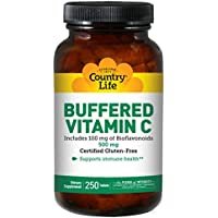 Country Life Buffered Vitamin C w/ 100 mg of Bioflavonoids 500 mg - 250 Tablets, Promotes Collagen Synthesis, Immune System Support, Gluten-Free, Non-GMO, Vegan