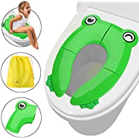 Potty Training Seat for Kids, FITNATE Portable Reusable Potty Training Seat Cover Upgrade Folding Large Non-Slip Pads with Carry Bags for Babies, Toddlers and Kids (Deep Green)