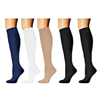 HARAVAL Compression Socks Women Men 20-30mmHg Graduated Stocking Running Cycling 5Pairs