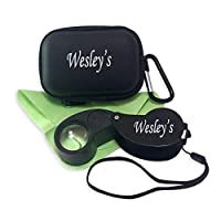 40X Jewelers Loupe Jewelry Magnifier LED/UV Illuminated, Pocket Hand Lens Loop Magnifying Glass with Case for Gardening Kids,Coin, and Rock Collecting by Wesley's as you wish